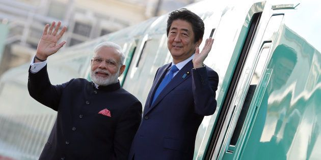 Narendra Modi, India's prime minister, left, and Shinzo Abe, Japan's prime
