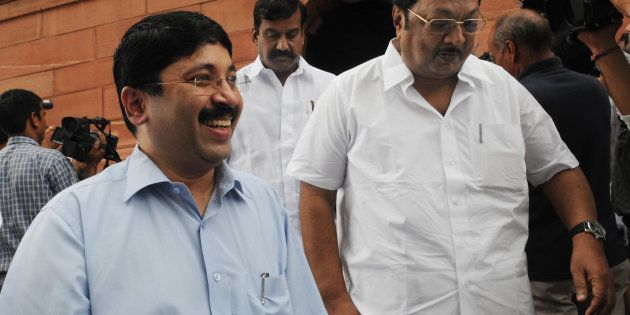 Dayanidhi Maran (left), with DMK members MK Alagiri and D Napoleon at the Parliament House in New Delhi...