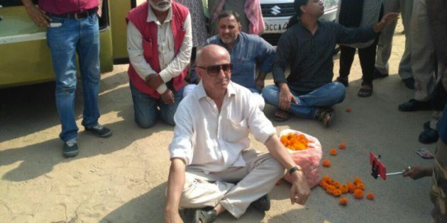 Author and activist Harsh Mander, along with other Karwan-e-Mohabbat activists, sits in a dharna at the...