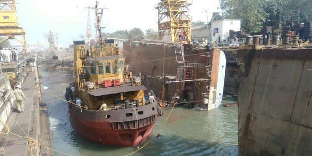 INS Betwa tipped over side ways on Monday and was badly