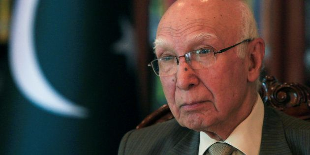 Adviser to Pakistan's Prime Minister on National Security and Foreign Affairs, Sartaj Aziz, in a file