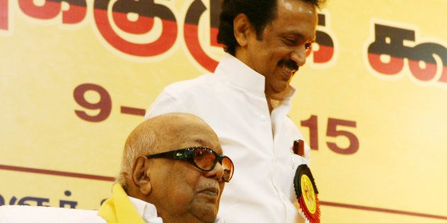 M Karunanidhi with his son MK Stalin. (Photo by Jaison G/India Today Group/Getty