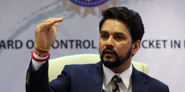 Anurag Thakur, newly-elected president of Board of Control for Cricket in India (BCCI), gestures during...