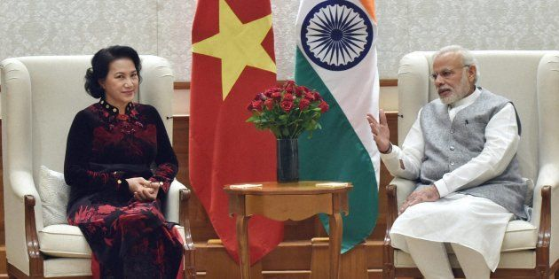 PM Narendra Modi with President of the National Assembly of Vietnam, Nguyen Thi Kim Ngan at a meeting...