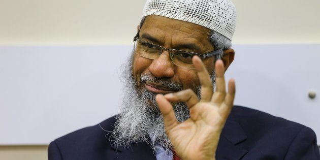 President of the Islamic Research Foundation (IRF) and founder of Peace TV channel Zakir Naik delivers...