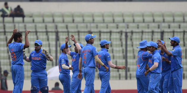 A file photo of India's under-19 team during the World Cup cricket final between India and West