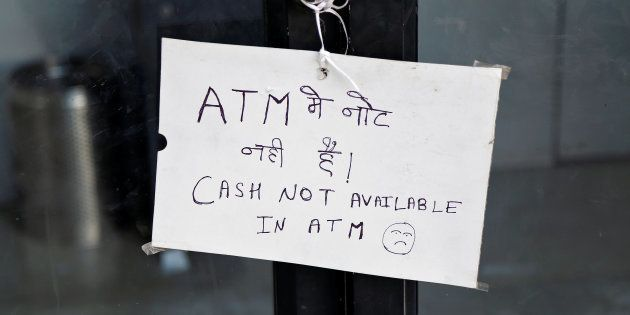 A notice is displayed outside an ATM counter in Ajmer, India November 28, 2016. REUTERS/Himanshu