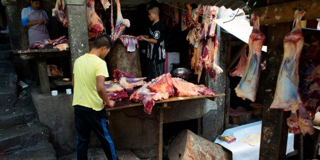 Beef is being sold at Lewduh Bazar in Shillong,
