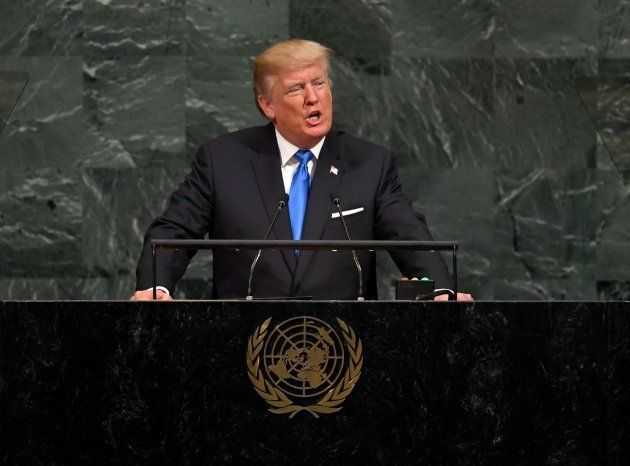 US President Donald Trump addresses the 72nd Annual UN General Assembly in New York on September