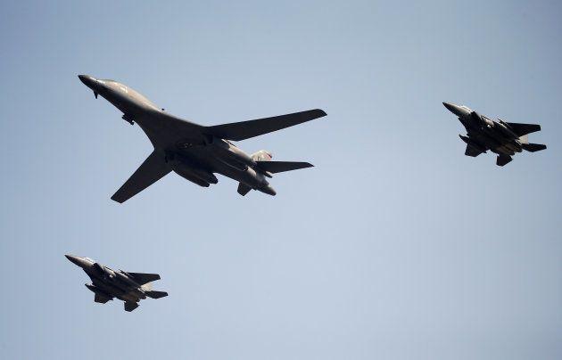 A U.S. Air Force B-1B bomber flies over Osan Air Base in Pyeongtaek, South Korea, September 13,