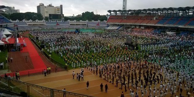 Thousands of people have taken part in Yoga day at Kanteerava Outdoor Stadium on June 21, 2015 in Bangalore,