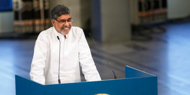 Nobel Peace Prize laureate Kailash Satyarthi delivers a speech during the Nobel Peace Prize awards ceremony...