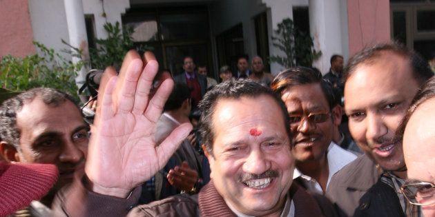 File photo of Rashtriya Swayamsevak Sangh (RSS) leader Indresh Kumar greeted by his