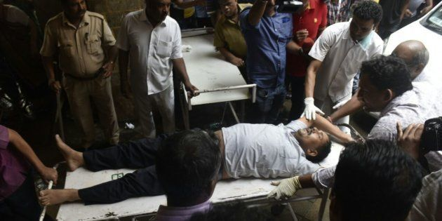 MUMBAI, INDIA - SEPTEMBER 29: INjured being brought at kem hospital on September 29, 2017 in Mumbai,