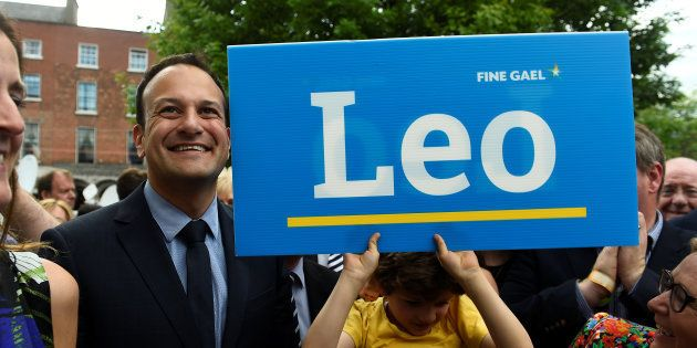Leo Varadkar arrives at the count centre as it is announced that he won the Fine Gael parliamentary elections...