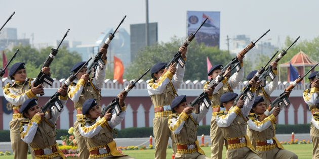 Women commandos of the Central Industrial Security Force (CISF) demonstrating their
