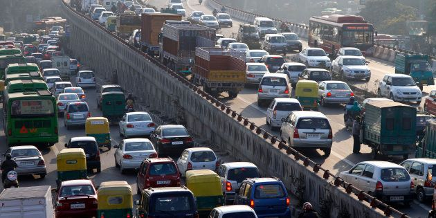 File photo - Traffic moves along a busy road in New