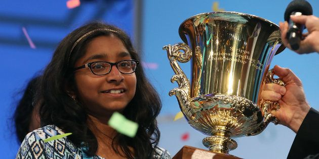 NATIONAL HARBOR, MD - JUNE 01: Ananya Vinay of Fresno, CA. won the 2017 Scripps National Spelling Bee...