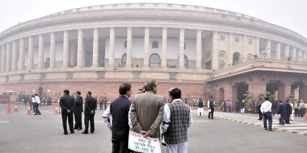 Opposition stages protest near Gandhi Statue inside Parliament premises over demonetisation issue on...