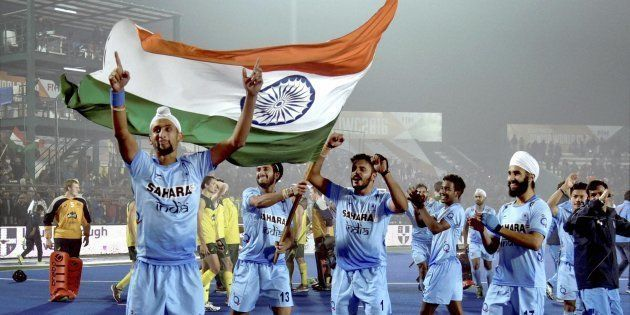 Lucknow: Indian players celebrate after defeating Australia in the Junior World Cup Hockey semifinal...
