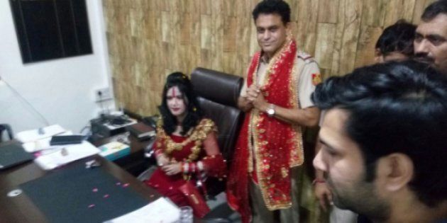 I Was Requesting Her To Leave, Claims Delhi SHO After Photos Of Radhe Maa Sitting On His Chair Goes