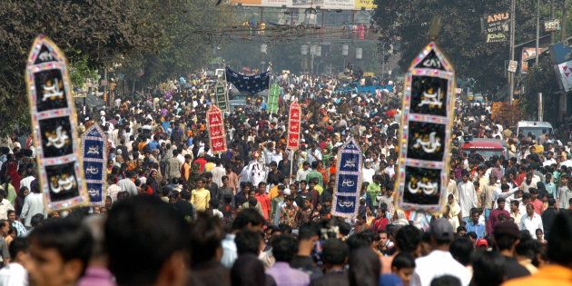 Thousands of Indian Muslim takes part in the religious procession on the tenth day of the holy month...