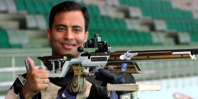NEW DELHI, INDIA - FEBRUARY 23: Sanjeev Rajput after winning the 50m rifle 3 positions men's individual...