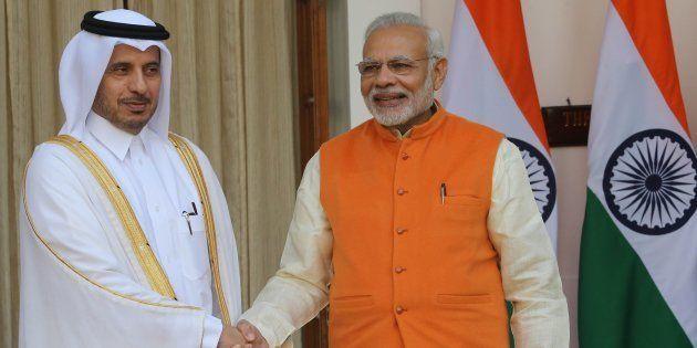 Indian Prime Minister Narendra Modi with Prime Minister of Qatar Sheikh Abdullah bin Nasser bin Khalifa...