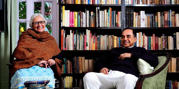 Subramanian Swamy and his wife Roxna Swamy, January 18, 2013 in New Delhi, India. (Photo by Priyanka Parshar/Mint via Getty Images)
