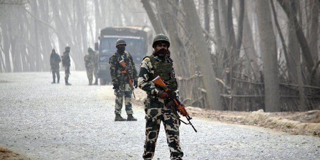 Indian paramilitary soldiers in Bijbehara near Srinagar in