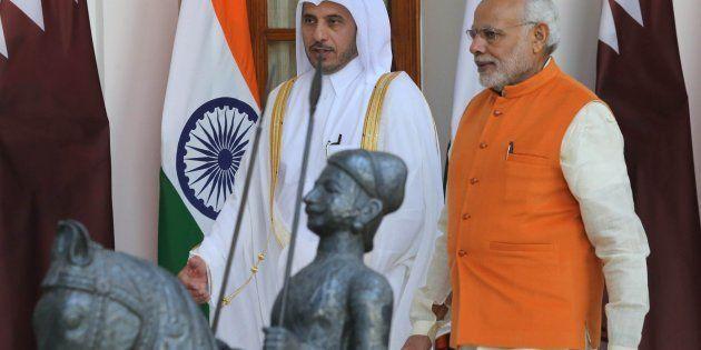 Indian Prime Minister Narendra Modi meets Prime Minister of Qatar, Sheikh Abdullah bin Nasser bin Khalifa...