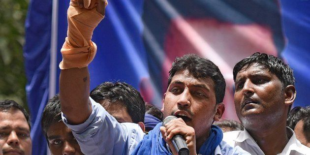Chandrashekhar, founder of Bhim Army, addressing the crowds during the protest against injustice towards...