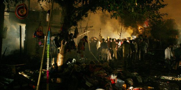 View of the scene of an explosion in Sarojini Nagar market in New Delhi October 29,