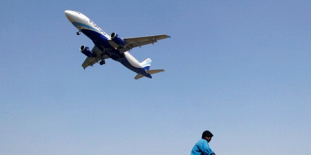 An IndiGo Airlines aircraft prepares to