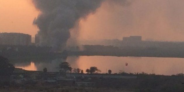 Toxic Fumes Cover The Neighbourhood, As Bengaluru's Bellandur Lake Catches Fire