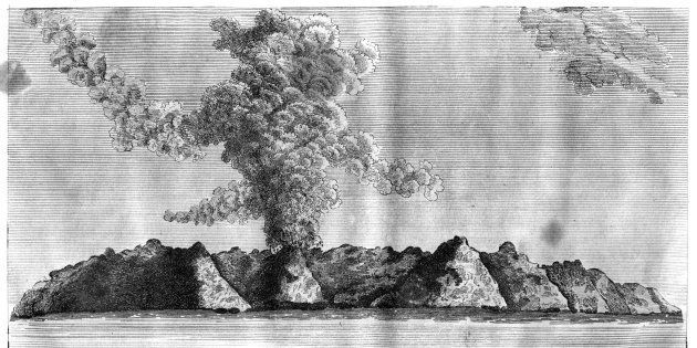 'View of the volcano on Barren Island', Andaman Islands, 1799. The first recorded eruption of the volcano...