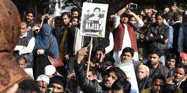 JNU students with people from different organisations, during a protest march and dharna against Delhi...