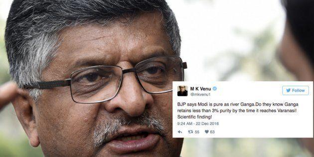 Ravi Shankar Prasad Said Modi Is As 'Pure As Ganga', Twitter (Obviously) Had A Field