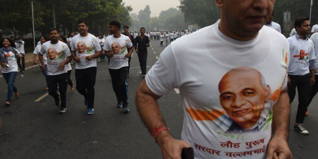 Indian nationals participate in the Run for Unity event in New Delhi on October 31,