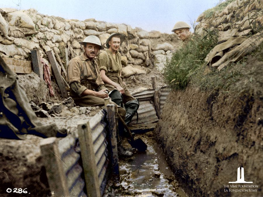 Draining Trenches. 22nd Infantry Battalion (French Canadian). July 1916. Colourized for the first time...