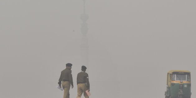 NEW DELHI, INDIA - NOVEMBER 13: A view of atmosphere shrouded in smog resulting in air pollution and...