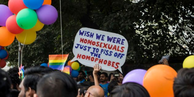 NEW DELHI, INDIA - NOVEMBER 12: Indian members and supporters of the lesbian, gay, bisexual, transgender...