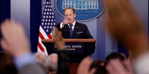 White House Communications Director Sean Spicer holds the daily press briefing at the White House in...
