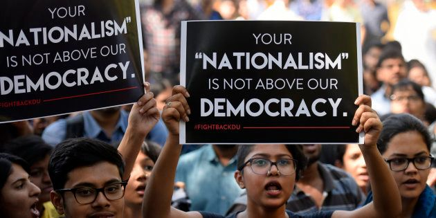 All India Students Association (AISA) and Jawaharlal Nehru University students hold a protest demanding...