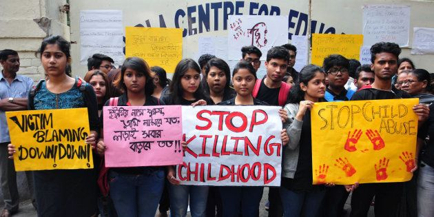 KOLKATA, WEST BENGAL, INDIA - 2017/12/04: Students take part in a rally to protest against school management...