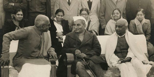 First Governor General Mr. C. Rajagopalachari with Dr. Rajendra Prasad (centre) and Sardar Vallabhbhai...
