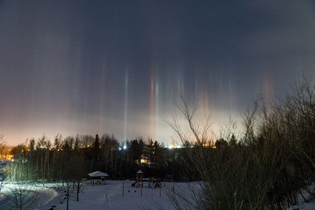 The light pillars were still in the sky when Melanson woke up. She shot this photo at 6:08 a.m. on Dec.