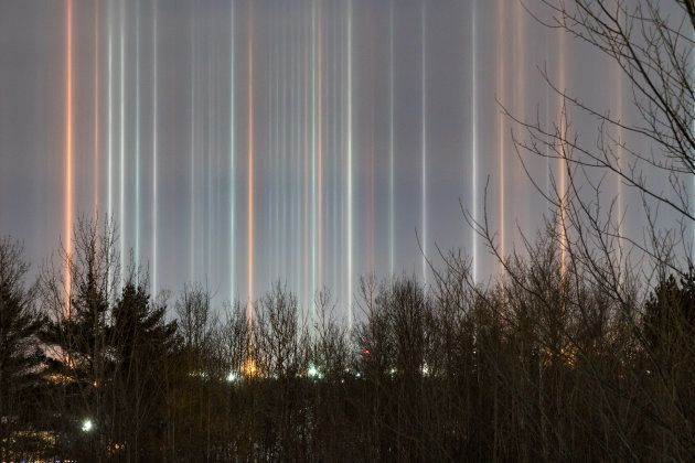 Sophie Melanson snapped this photo of light pillars in Moncton, N.B., on Dec. 30 at 12:09