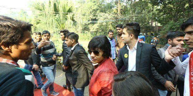 Indian wrestler Babita Phogat during the centennial celebrations at Ramjas College, Delhi University,...