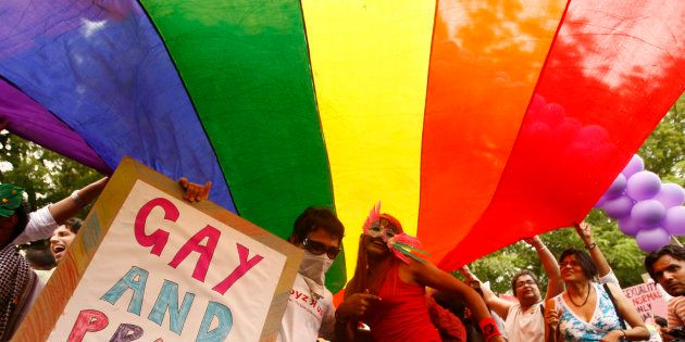 Participants take part in a gay pride march in New Delhi June 28,